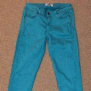 PAIGE- Turquoise Blue Skinny Jeans